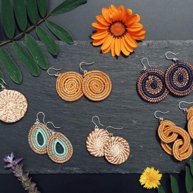 Siempre Sololá Handmade Guatemalan Woven Silver Dangle Earrings